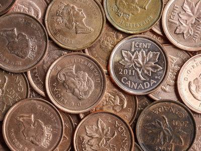 Moedas de um centavo do céu